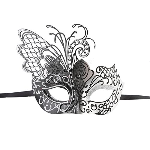 Xvevina Venezianische Maske für Maskenball aus hochwertigem,glänzendem, filigranen Metall, Maskenball, metall plastik, luxury black/silver, Einheitsgröße (Halloween Sexy Customes)