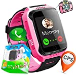 144GPS Tracker Smart Watch Phone For Kids With Pedometer Camera SIM Calls Anti Lost SOS Smart Bracelet Smartwatch For Children Girls Boys Safety Monitor Birthday Gift Holiday Travel Summer Pink