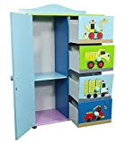 Kinder Kommode Schrank Kinderregal Blau Autos Schiffe Mini Turbo 94 x 60 x 29 cm