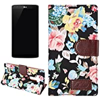 LG G4-Vintage Black Flower Magnetic Flip TPU Jacquard Leather Wallet Flip Card Slot Stand