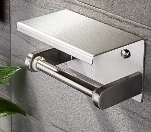 Toilettenpapierhalter Edelstahl Klopapierhalter mit Ablage WC Rollenhalter Selbstklebend Wandmontage für Badezimmer (Wand-uhren Abstand)