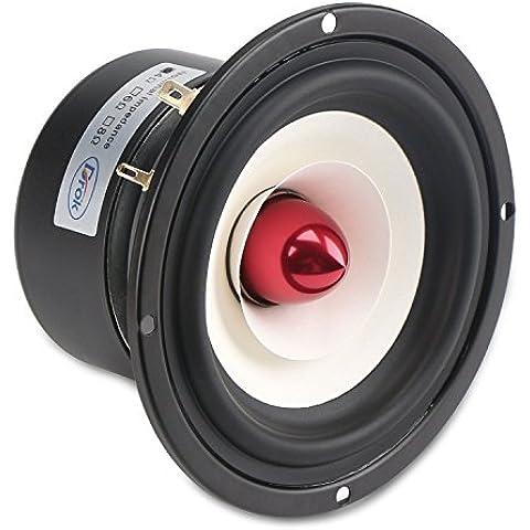 DROK® 4-inch 15W HIFI completa Range, 4Ω Anti-magnetici altoparlanti stereo con subwoofer, altoparlanti 88dB casa woofer con Clear Voice / High & Low Pitch, altoparlante adatto per l'ascolto di musica Classica & String