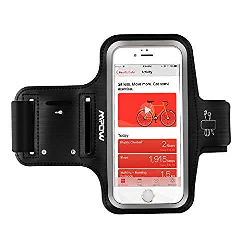 Mpow Running Armband (for iPhone 7 / 6s / 6 up to 5.1 inches) iPhone Running Sport Armband + Earphone and Key Holder, Adjustable Size, Safety Design for Exercise, Gym, Jogging, Cycling, Hiking, Walking - with Extension