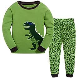 Pijama de manga larga de Dinosaurio de algodón de 2 piezas para niños de 3 años