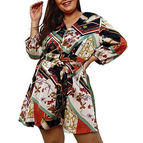 Sasstaids Womens Elegantes Kleid Chain Print Langarm-Minikleid Damen Kreuz Sommer Urlaub Kleid Minikleid -
