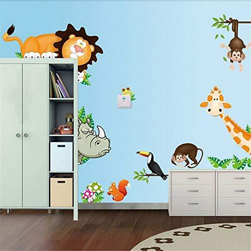 Zhcm Wallpaper niedlichen Tiere Leben in ihrem Hause DIY tapete Dekoration Dschungel Wald Thema tapete Kinder Geschenk raumdekoration Aufkleber, 300 * 210 cm