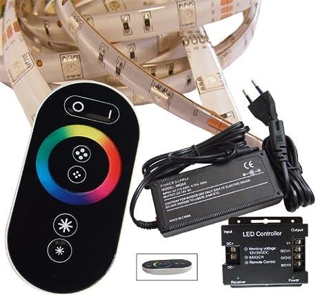 10 Meter (Set) mit Funkfernbedienung: hochwertige RGB LED Stripe Band Streifen Leiste mit 30 LED/m (weiße Oberfläche, 10m, IP65, wassergeschützt) + Controller und 6A