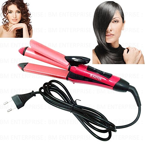 2 in 1 Nova Professional Hair Straighteners And Hair Curling Curler Iron Stick-45W  available at amazon for Rs.1799