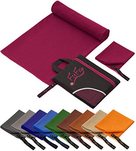 Produktbild Fit-Flip Set: 70x140cm + 30x50cm + Tasche/Weinrot, microfaser handtücher pink microfaser handtücher Premium microfaser handtücher Amazon microfaser handtücher antibakteriell