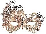 Maschera da travestimento, filigrana veneziana in metallo con filigrana e maschera di strass. (oro rosa)