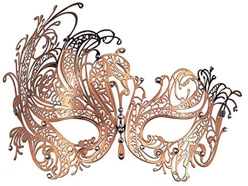 Karnevalsmaske, venezianisches Laser Cut Metall Filigran mit Strass Maske. ()