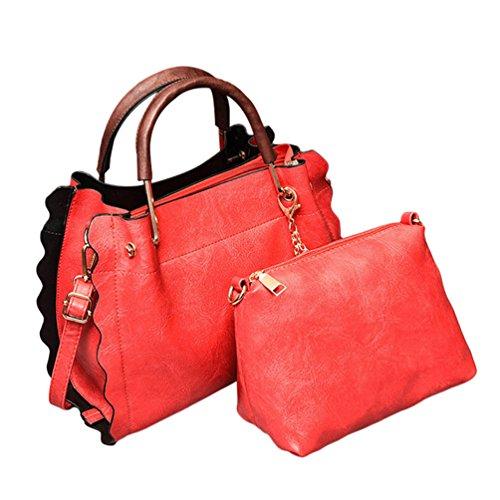 Baymate Frauen Mode Kunstleder Handtaschen Set 2 teilige Tasche Tote Crossbody Tasche + Schultertasche Weinrot