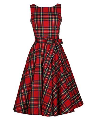 VKStar® Vintage Damen 1950s Audrey Hepburn britische Art Schwing Retro Rockabilly Plaid Abend-Partykleid Schleife
