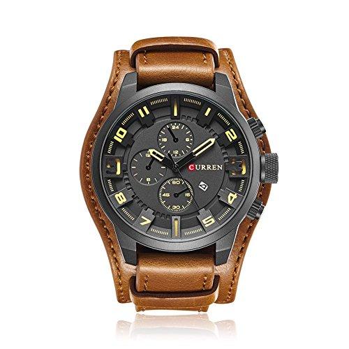 CURREN Men Casual Leather Strap Sports Date Analog Quartz Wristwatch/Khaki