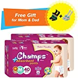 Premium Champs High Absorbent Premium Pant Style Diaper (Pack Of 2) (Free Pair Of Secret And Loafer Socks)| Premium Pant Diapers | Premium Diapers | Premium Baby Diapers | Anti-rash And Anti-bacterial Diaper | (Medium, 40)