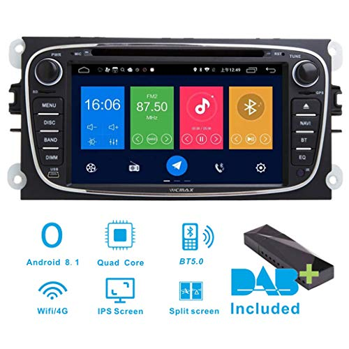 Android 8.1 Auto-Stereo-DAB+ (im Lieferumfang enthalten) für Ford Focus Mondeo Galaxy C & S-Max 17,8 cm (7 Zoll) Navigationsgerät, Canbus/IPS-Panel, Bluetooth/WIFI/4G/Multi-Touch-Screen/GPS/DVD - Screen Autoradio-touch Android