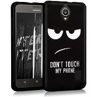kwmobile Funda para Huawei Ascend Y635 - Case para móvil en TPU silicona - Cover trasero Diseño Don't touch my Phone en blanco negro