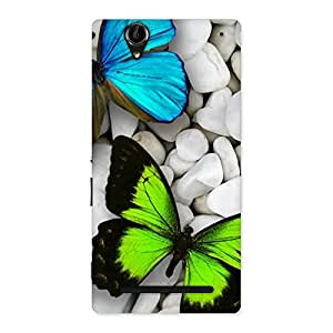 Blue and Green Butterfly Back Case Cover for Sony Xperia T2