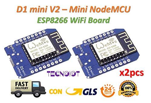 TECNOIOT 2pcs D1 Mini V2 - Mini NodeMcu 4M Bytes Lua WiFi Development Board ESP8266 by WeMos