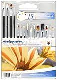 The Wall Art, Set di pennelli EVA, per artisti, 15pezzi -Pennelli per pittura ad acquerello -Set di pennello, ideale per la scuola, lezioni di arte, Malset Art Brush
