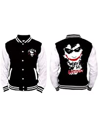 Batman - Joker Why So Serious? Homme College Jacket / Veste - Noir