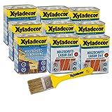 Xyladecor 2in1 Holzschutzlasur + Grundierung im Set mit Pinsel, UV Holz-Lasur für außen (6x 0,75L + 3x 0,75L, mahagoni)