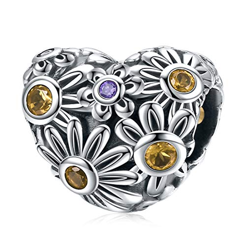 Daisy Flower Charms 925 Sterling Silber Charm Bead Fit Armband Halskette Heart Shaped (Shaped Heart Anhänger)