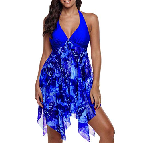 Damen Tankini Set Two Piece Schwimmanzug Badeanzug V-Ausschnitt Oberteile + Kurz Swimwear Große Größen Bademode Strandmode Badebekleidung S - 5XL (Womens V-neck Bademode)