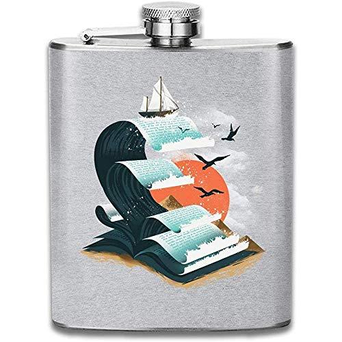 Buch Der Wellen Drucken Flachmann Tasche Flasche Flagon Portable Edelstahl Flagon 7OZ