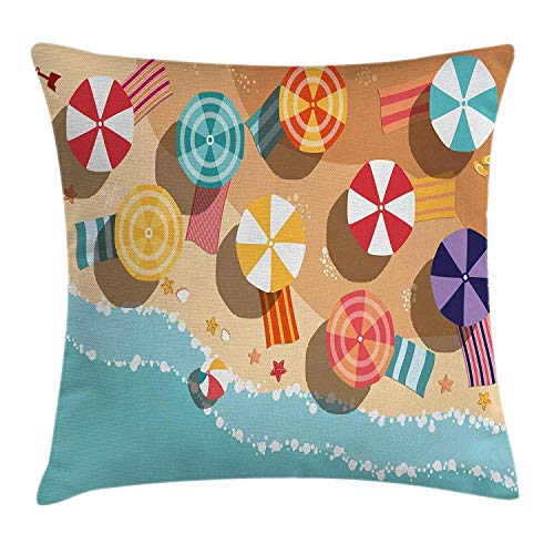 llow Cushion Cover by, Summertime Seacoast with Colorful Umbrellas Stars Flat Design Aerial View Vacation, Decorative Square Accent Pillow Case, 18 X 18 Inches, Multicolor ()