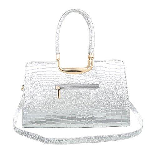 iTal-dEsiGn Damentasche Mittelgroße Schultertasche Handtasche Kunstleder TA-M981 Silber