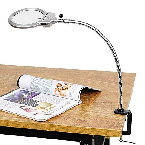 Led Lupe Clamp Lampe, 2X, 5X 100mm Lupe, Metallschlauch verstellbaren Schwenkarm Utility Clamp Licht für Schreibtisch, Tisch, Handwerk, Schmuck, Nähen -