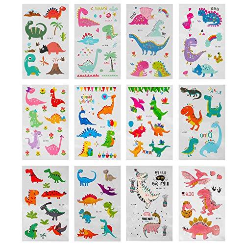 Jamber tatuaggi temporanei per bambini, (12 fogli) falso tatuaggio tattoos unicorno ragazzi ragazze compleanno sacchetti regalo giocattolo