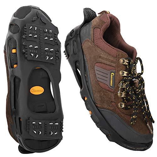 MoKo Steigeisen, Outdoor Schuhspikes Schuhkrallen rutschfest Schnee Grip mit 24 Spikes für Gehen, Wandern, Joggen, Trekking und Bergsteigen, L - Schwarz