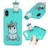 iPhone X Coque LANVY Housse tui TPU Silicone Souple Coque 3D Animal Cover Gel Doux Case Anti-drapante Coque Bumper Cover pour iPhone X - Licorne
