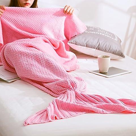 pepeng morbida coda da sirena coperta a mano soggiorno sleeping coperta per bambini e adulti vacanze di Natale e attività all' aperto, 185x 90cm (185,4x 90,2cm) (Rosa) Pink