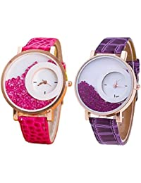 Swadesi Stuff Exclusive Premium Quality Maxre Pink & Purple Watch Combo Of 2 Watches For Girls & Women