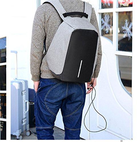 Juuly zaino resistente all'acqua, in poliestere, 39,6cm con porta USB di ricarica, unisex., Black Grey