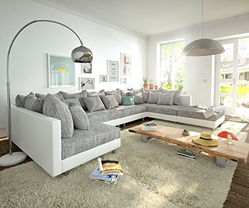 DELIFE Couch Clovis Modular - Ecksofa, Sofa, Wohnlandschaft & Modulsofa (Grau/Weiss, Sofa XL mit Hocker)