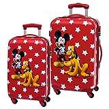 Disney Mickey y Pluto Set de Maletas Rígidas, Color Rojo, 86 Litros
