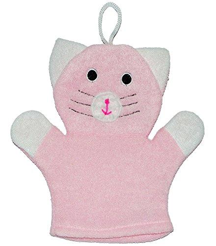 2 in 1: Waschhandschuh + Handpuppe - süße Katze / für Kinder & Erwachsene - Handspielpuppe Handpuppen - Baby - Waschlappen zum Spielen und Waschen / Tier - Badewanne - Katzen Miezekatze