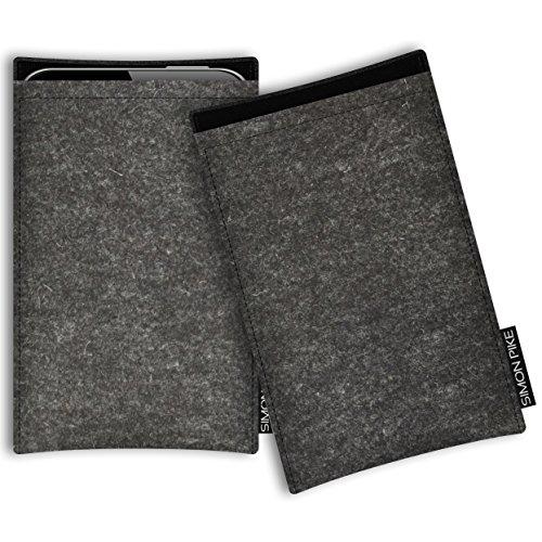 SIMON PIKE AppleiPhone 7 / 6 / 6S Filztasche Case Hülle 'Boston' in anthrazit1, passgenau maßgefertigte Filz Schutzhülle aus echtem Natur Wollfilz, dünne Tasche im schlanken Slim Fit Design für das iP anthrazit Filz (Muster 1)