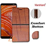 Marshland Leather Inside Soft Silicon Case Kickstand Wallet Design Full Protection Stylish Flip Cover for Nokia 3.1 Plus (Light Brown)