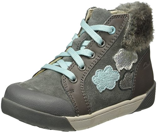 Clarks Kids Lilfolkice Pre, Sneakers Hautes Fille Gris (Grey Leather)