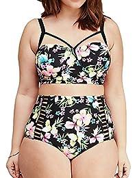 iPretty Bikini de Europa y América del traje de baño de la cintura mujer gorda impresión velo neto talla grande