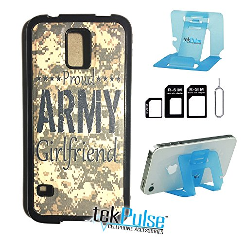 tekpulse (TM) Stolz Armee Freundin Camo USA Echt Leder TPU Handy Fall zurück & Nano Sim Card Adapter & klappbar Handy Stehen - [Bundle Pack, 3 Pcs] - Direct Print Technologie, Samsung S5