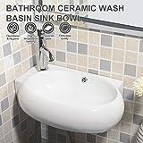 UEnjoy Design Eckwaschbecken Keramik Waschschale Oval/ mit Überlauf & Hahnloch 9500