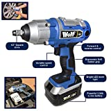 "Wolf 18V Li-ion Cordless Impact Wrench Gun 1/2"" Drive Fast Charge & 3A/H Battery Supplied In Carry Case with Impact Sockets and Extension Bar"