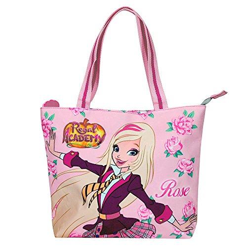PERLETTI Shopper bag della serie animata Regal Academy - Borsetta Tote a mano Bambina e Ragazza con Rose - Rosa - 25x33x8 cm