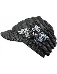 Malloom otoño e invierno mujeres gorros de punto tejer sombreros con apliques de flores lentejuelas (gris)